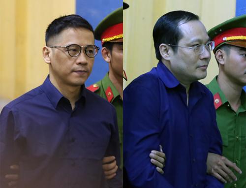 Bị cáo Phan Thành Mai (nguyên tổng giám đốc VNCB) và Phan Huy Khang (nguyên tổng giám đốc Sacombank). Ảnh: Quỳnh Trần.
