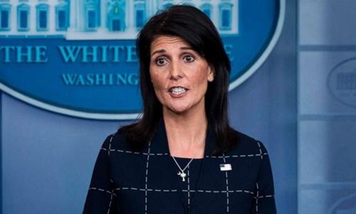 Đại sứ Mỹ tại Liên Hợp Quốc Nikki Haley. Ảnh: AFP.