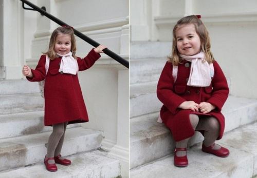Công chúa Charlotte trong ngày đầu tiên đi học. Ảnh: Cung điện Kensington.