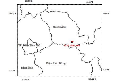 Tâm chấn động đất hôm nay cách trận hôm qua ở Điện Biên Đông khoảng 10 km. Ảnh: Viện Vật lý địa cầu.