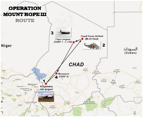 Lộ trình của trực thăng CH-47 với hai điểm tiếp dầu dã chiến (FARP). Đồ họa: Blogspot.