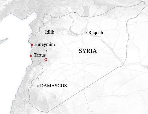 Căn cứ Hmeymim và Tartus nằm sâu trong lãnh thổ do quân đội Syria kiểm soát. Đồ họa: Newsweek.