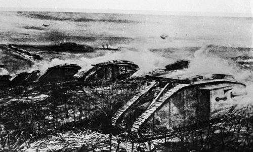 Xe tăng Anh đột kích phòng tuyến Đức tại Cambrai. Ảnh: Wikipedia.