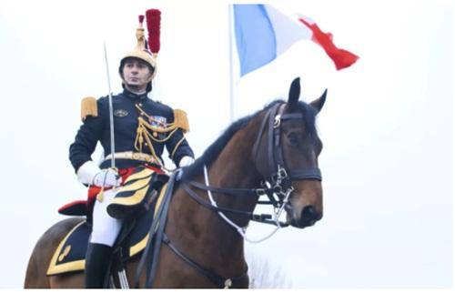 Con tuấn mã Vesuvius từ đội kỵ binh phủ tổng thống Pháp được ông Macron đưa sang Trung Quốc tặng ông Tập. Ảnh: Telegraph.