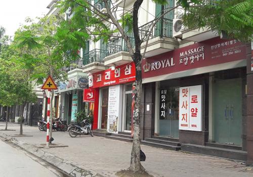 Nhiều tuyến phố ở Hà Nội sử dụng tràn lan biển hiệu tiếng nước ngoài. Ảnh minh họa: Xuân Hoa.