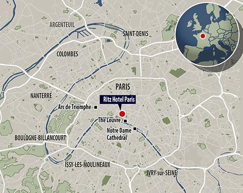 Vị trí khách sạn Ritz trên bản đồ.