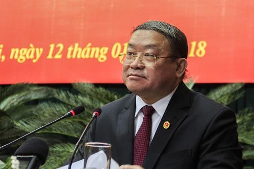 Ông Thào Xuân Sùng phát biểu trên cương vị Chủ tịch Trung ương Hội Nông dân Việt Nam. Ảnh: Dương Tâm