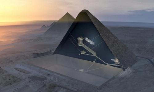 Phòng dài 30 m có thể chứa cả máy bay được phát hiện trong Đại kim tự tháp Giza ở Ai Cập. Ảnh: Scan Pyramids.