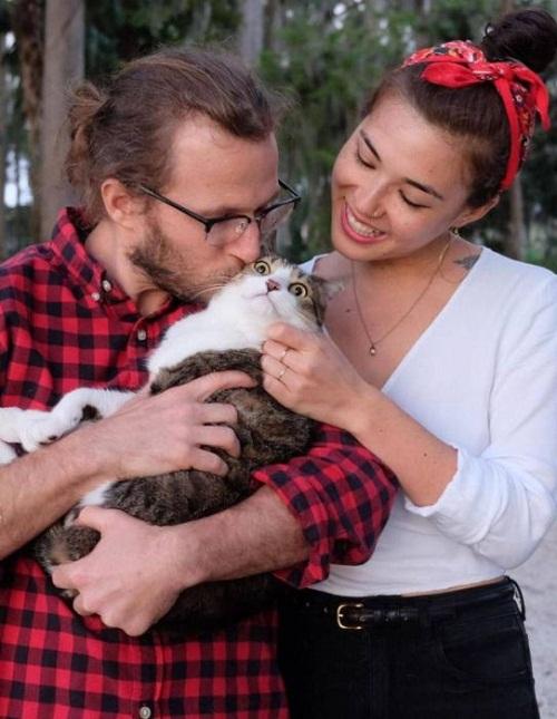 Biểu cảm khó đỡ của mèo khi bị cưỡng hôn.