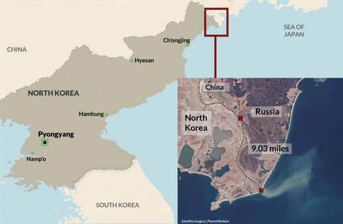 Khu vực biên giới Nga - Triều Tiên - Trung Quốc. Đồ họa: IBTimes.