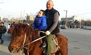 Ông bố cưỡi ngựa đón con tan học mẫu giáo ở Trung Quốc