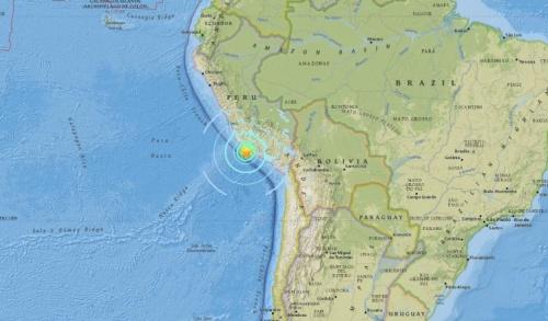 Vị trí tâm động đất. Đồ hoạ: USGS.
