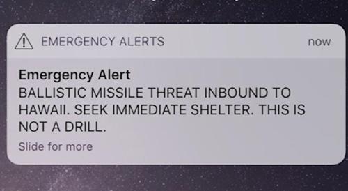 Tin nhắn cảnh báo tên lửa mà người dân Hawaii nhận được. Ảnh: Twitter.