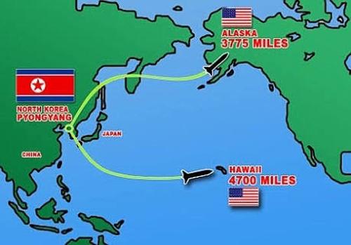 Người dân Hawaii chỉ được báo trước 12-13 phút nếu bị tên lửa Triều Tiên tấn công. Đồ họa: Novosti.