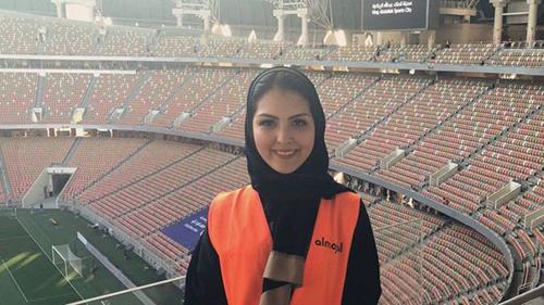 Sarah Alkashgari tham gia tổ chứctrận đấu ở sân vận động thành phố Jeddah hôm 12/1.
