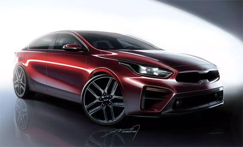 Kia Forte thế hệ mới qua ảnh phác họa. Xe sẽ ra mắt tại Detroit Auto Show 2018 diễn ra từ 13 đến 28/1. Ảnh: Kia.