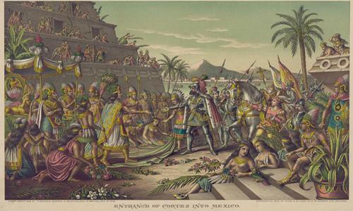Cảnh tượng người Tây Ban Nha đến Mexico trong tranh minh họa thế kỷ 19. Ảnh:Kurious.