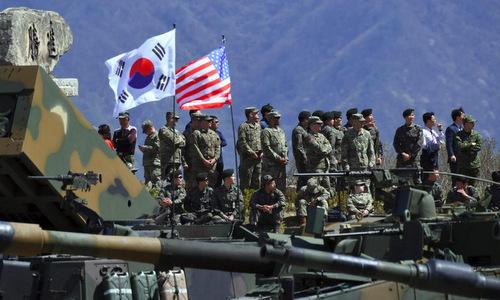 Binh sĩ Mỹ và Hàn Quốc trong một cuộc tập trận. Ảnh: AFP.