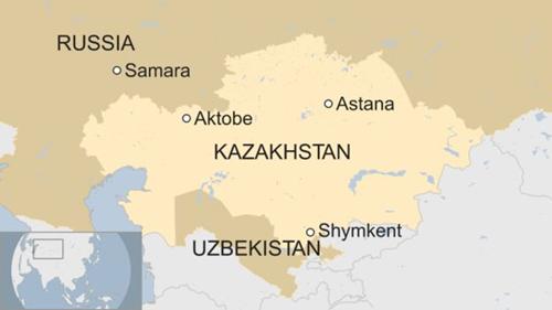 Vị trí thành phố Aktobe, Kazakhstan. Đồ họa: BBC.