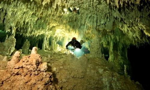 Một thợ lặn thám hiểm trong hang. Ảnh: GAM.