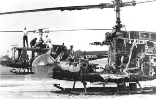 Trực thăng bị phá hủy trên đường băng ở Munich ngày 6/9/1972. Ảnh:jewishvirtuallibrary.