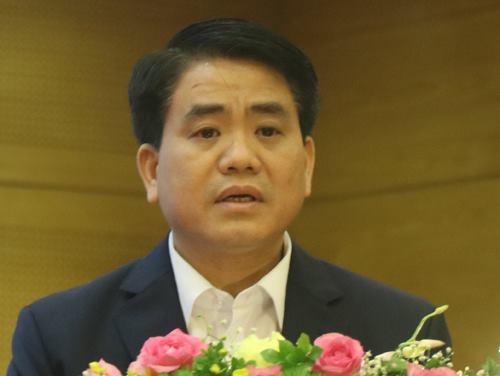 Chủ tịch UBND TP Hà Nội Nguyễn Đức Chung phát biểu tại lễ tổng kết Công ty công viên cây xanh chiều 20/1. Ảnh: Võ Hải.
