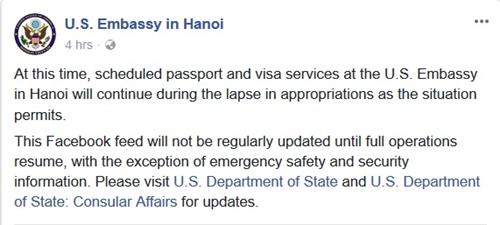 Thông báo trên Facebook của Đại sứ quán Mỹ. Ảnh chụp màn hình.