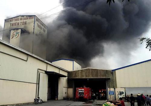 Nhà máy sản xuất thức ăn chăn nuôi 100% vốn nước ngoài tại cụm công nghiệp Việt Hòa, phường Việt Hòa, thành phố Hải Dương, tỉnh Hải Dương phát cháy vào chiều nay (21/1). Ảnh: CTV