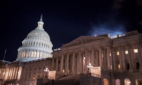 Tòa nhà quốc hội Mỹ đêm 21/1. Ảnh: AFP.