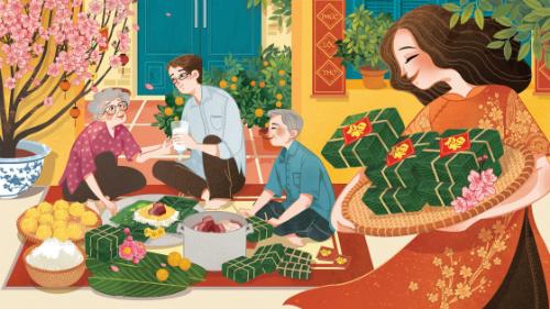 Cả gia đình quây quần nấu bánh chưng trong không khí đầm ấm của những ngày Tết đến xuân về qua nét vẽ của họa sĩ.
