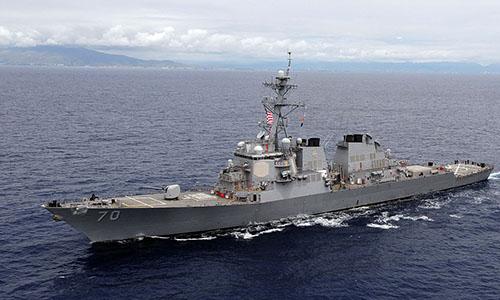 Tàu khu trục tên lửa dẫn đường USS Hopper. Ảnh: Hải quân Mỹ.