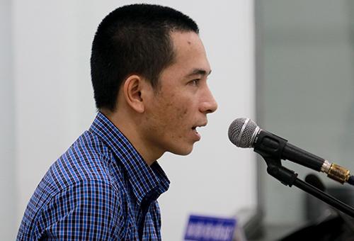 Huỳnh Quốc Việt tại phiên tòa. Ảnh: Xuân Ngọc