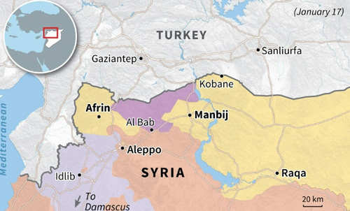Khu vực Al Bab do SFA kiểm soát (màu tím) bị kẹp giữa vùng kiểm soát của dân quân người Kurd (màu vàng) ở miền bắc Syria. Đồ họa: AFP.