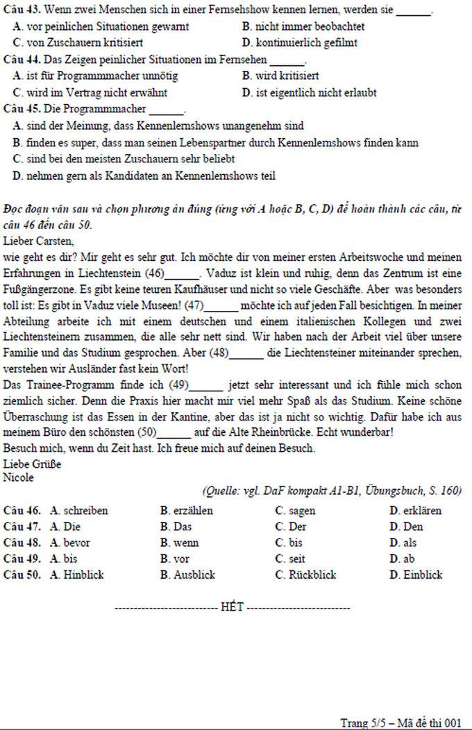 Đề tham khảo môn tiếng Đức thi THPT quốc gia 2018