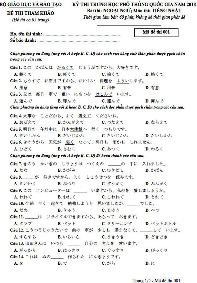 Đề tham khảo môn tiếng Nhật thi THPT quốc gia 2018