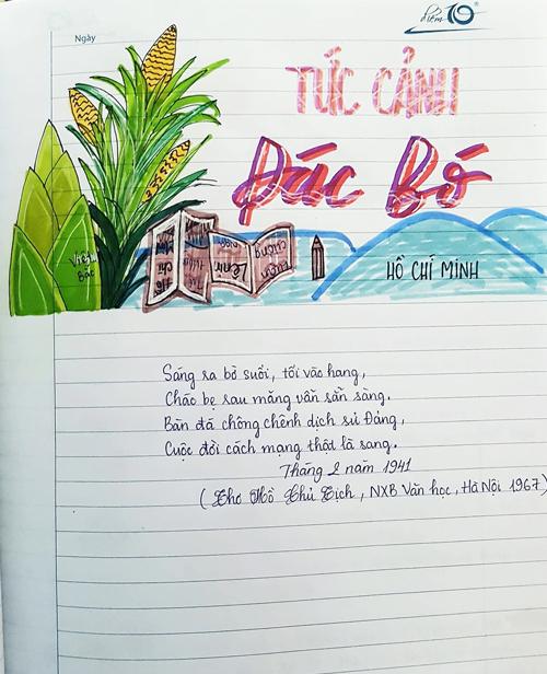 Đồng Vân Anh là học sinh lớp 8, trường THCS Trung Lập (huyện Củ Chi, TP HCM). Vân Anh chia sẻ cô rất thích trang trí tựa bài học môn Văn trước mỗi giờ học, bởi điều này khiến việc học trở nên hứng thú hơn.