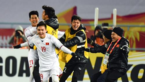 Tuyển U23 Việt Nam vui mừng trước chiến thắng với Qatar. Ảnh: AFC