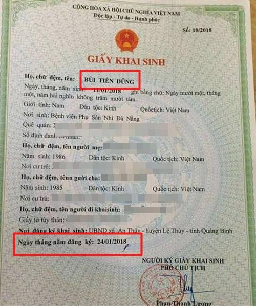 Ông bố khai sinh tên con là Bùi Tiến Dũng ngay sau chiến thắng của U23 Việt Nam.