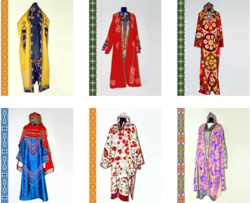 Các mẫu trang phục truyền thống của phụ nữUzbekistan. Ảnh:advantour.