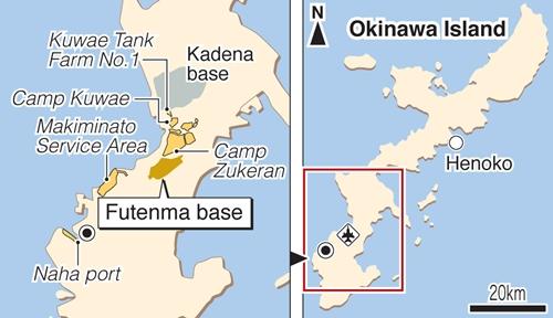 Vị trí căn cứ Futenma, Okinawa, Nhật Bản. Đồ họa: Kyodo.