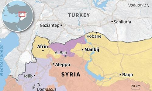FSA đang hoạt động ở Al Bab, nằm giữa Afrin và Manbij. Đồ họa: AFP.