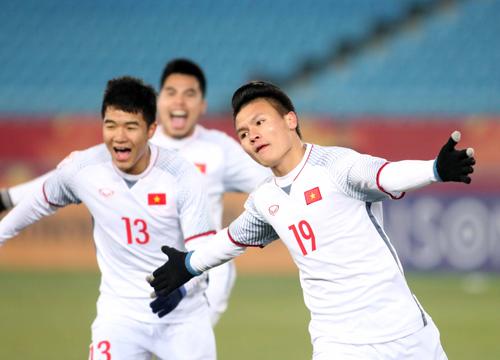 Việt Nam làm nên lịch sử khi lần đầu tiên góp mặt tại trận chung kết giải vô địch U23 châu Á. Ảnh: Anh Khoa.