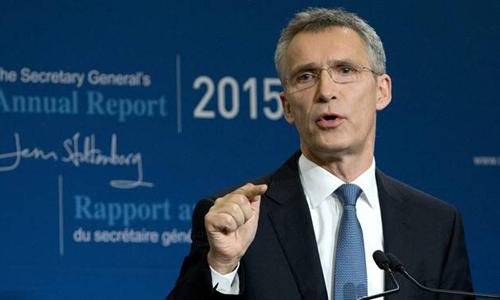 Tổng thư ký NATO Jens Stoltenberg phát biểu tại một sự kiệnthường niên của tổ chức này tại Brussels hồi năm 2016. Ảnh: AP.
