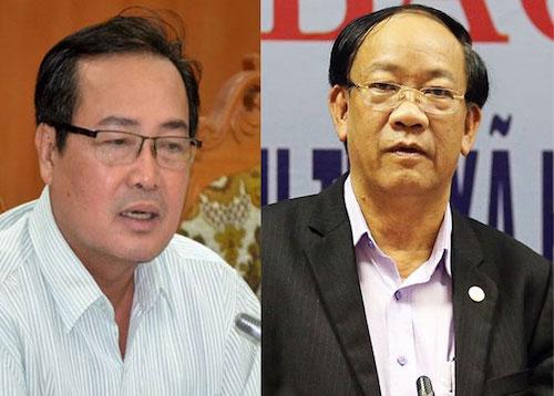 Từ trái qua: Ông Huỳnh Khánh Toàn, Phó chủ tịch UBND tỉnh Quảng Nam; ông Đinh Văn Thu, Chủ tịch UBND tỉnh Quảng Nam.