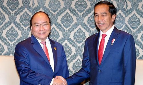 Thủ tướng Việt Nam Nguyễn Xuân Phúc, trái, gặp Tổng thống Indonesia Widodo hôm nay tại Ấn Độ. Ảnh: TTXVN.