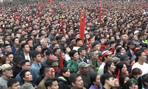 Biển người ở nhà Quang Hải xem chung kết U23