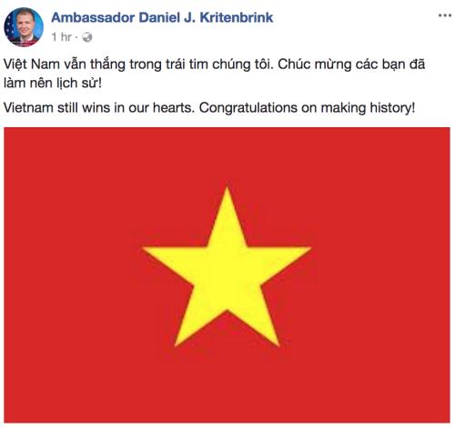 Đại sứ Mỹ chia sẻ thông điệp trên Facebook. Ảnh: Facebook của Đại sứ Mỹ.