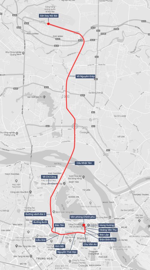Tuyến đường U23 Việt Nam dự kiến diễu hành từ Nội Bài về trung tâm Hà Nội. Đồ họa: Việt Chung.