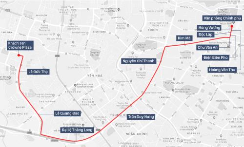 Tuyến đường U23 từ Văn phòng Chính phủ về khách sạn.