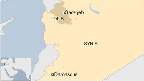 Vị trí thành phốSaraqeb, tây bắc Syria. Đồ họa: BBC.
